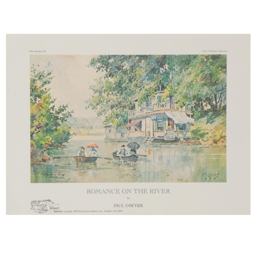 "Offset Lithograph after Paul Sawyier ""Romance on the River"""