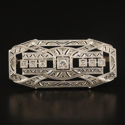 18K Diamond Openwork Brooch