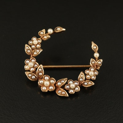 Circa 1900 14K Seed Pearl Floral Crescent Brooch