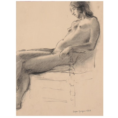 Edgar Yaeger Charcoal and Wash Figure Study, 1984