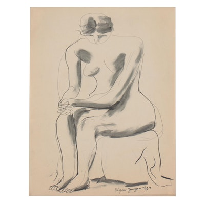 Edgar Yaeger Ink and Wash Painting of Seated Female Figure, 1927