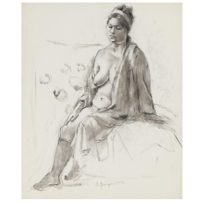 Edgar Yaeger Charcoal Drawing of Seated Female Figure, 1972