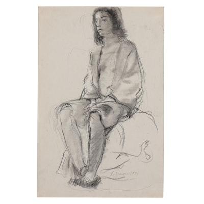 Edgar Yaeger Charcoal and Wash Figure Study, 1971