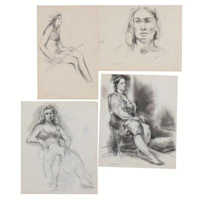 Edgar Yaeger Charcoal and Wash Figure Studies, 1965 - 1985