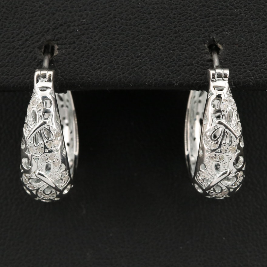 Fine Silver Butterfly Diamond Openwork Hoop Earrings