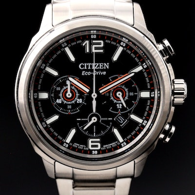 "Citizen ""Eco-Drive Brycen"" Chronograph Stainless Steel Quartz Wristwatch"