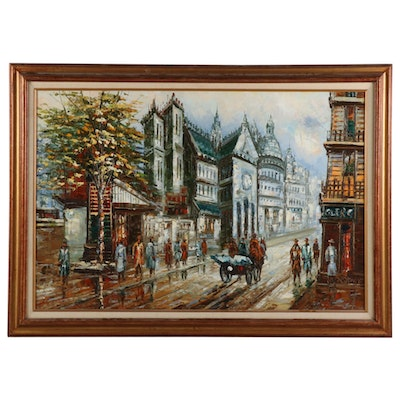 European City Street Scene Oil Painting, 20th - 21st Century