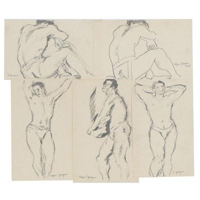 Edgar Yaeger Graphite Figure Studies, circa 1928