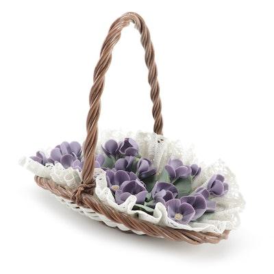 """Lladró """"Flat Basket of Violets"""" Porcelain Figurine, Late 20th Century"""