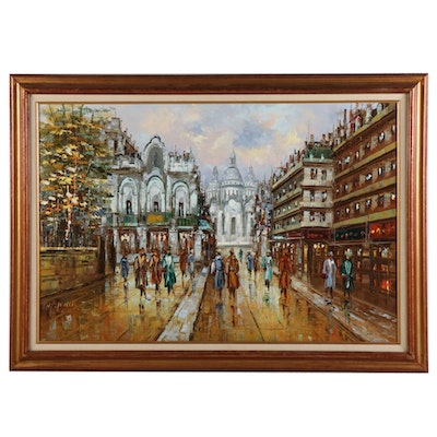 Street Scene with Sacré-Cœur Basilica Oil Painting, Late 20th - 21st Century