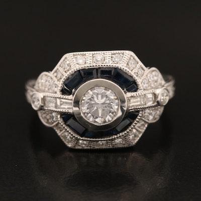 Platinum 1.09 CTW Diamond and Sapphire Ring