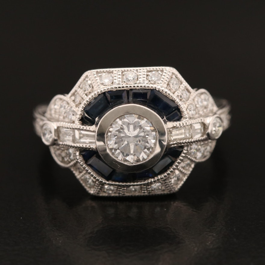 Platinum 1.09 CTW Diamond and Sapphire Ring