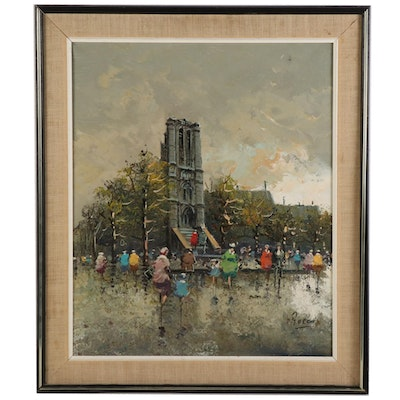 Street Scene with Gothic Revival Tower Oil Painting, Late 20th - 21st Century