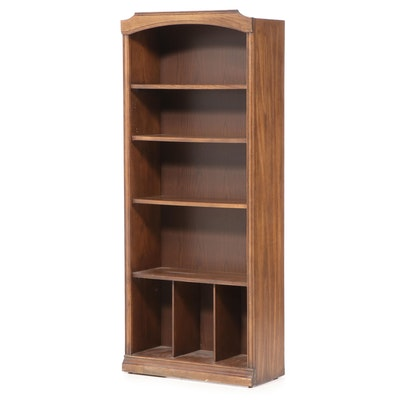 Oak-Veneered Five-Shelf Open Bookcase, Mid to Late 20th Century