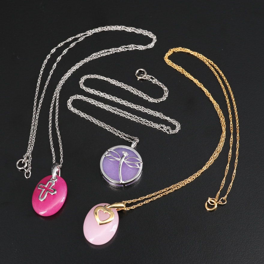 Sterling Quartzite Necklaces with Heart, Cross and Diamond Dragonfly Motifs