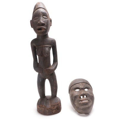 Kongo-Yombe Style Wood Figure and Mask, Central Africa