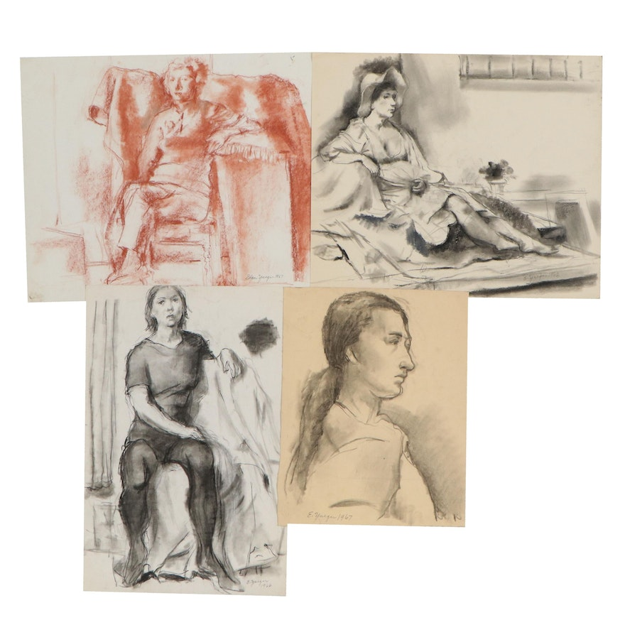 Edgar Yeager Figural Charcoal and Sanguine Conté Crayon Drawings, 1966 - 1968