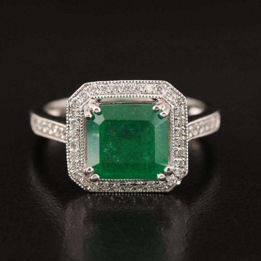 Platinum 2.20 CT Emerald and Diamond Ring
