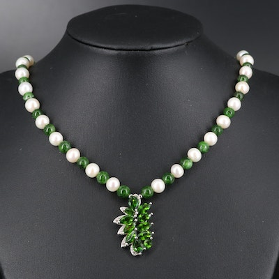Sterling Silver Diopside, Pearl and Topaz Necklace