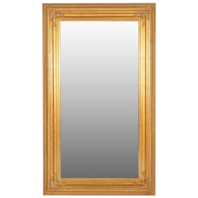 4'4 x 7'4 Gilt Gesso Framed Full Length Mirror, Mid to Late 20th Century