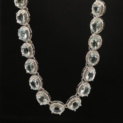 Sterling Aquamarine and Diamond Riviera Necklace