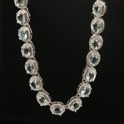 Sterling Aquamarine and Diamond Riviera Necklace
