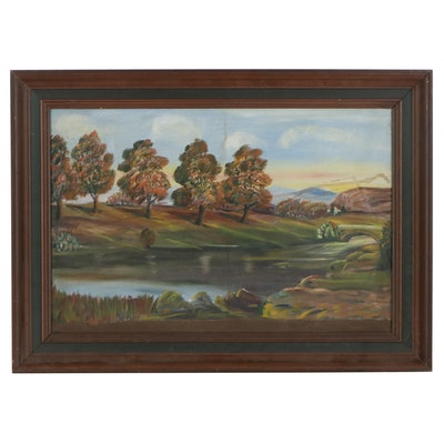 Fall Landscape Oil Painting, Late 20th Century