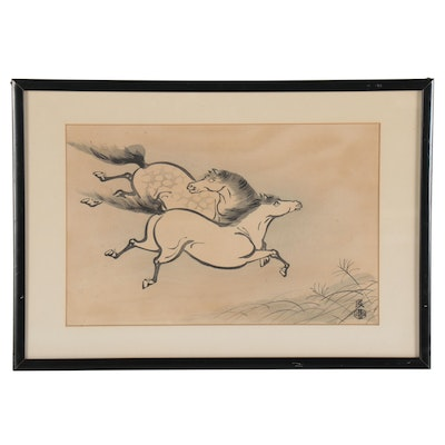 Japanese Woodblock of Horses, Early 20th Century