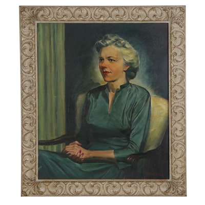 Oil Portrait of Woman, Late 20th Century