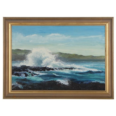 Impasto Seascape Oil Painting of Crashing Waves, 21st Century