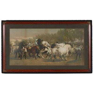 "Chromolithograph after Rosa Bonheur ""The Horse Fair"", Late 19th Century"
