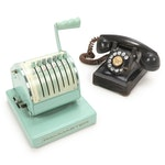 Rotary Dial Telephone and Adding Machine, Mid 20th Century
