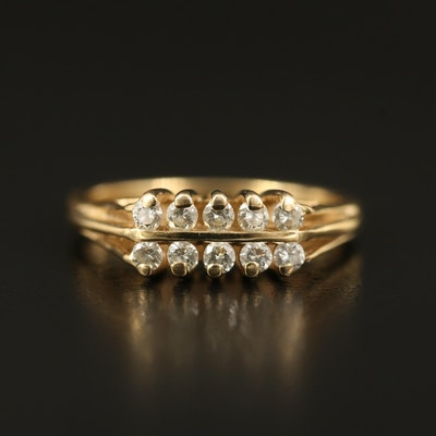 14K Diamond Double Row Ring