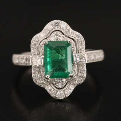 Platinum 1.26 CT Emerald and Diamond Ring