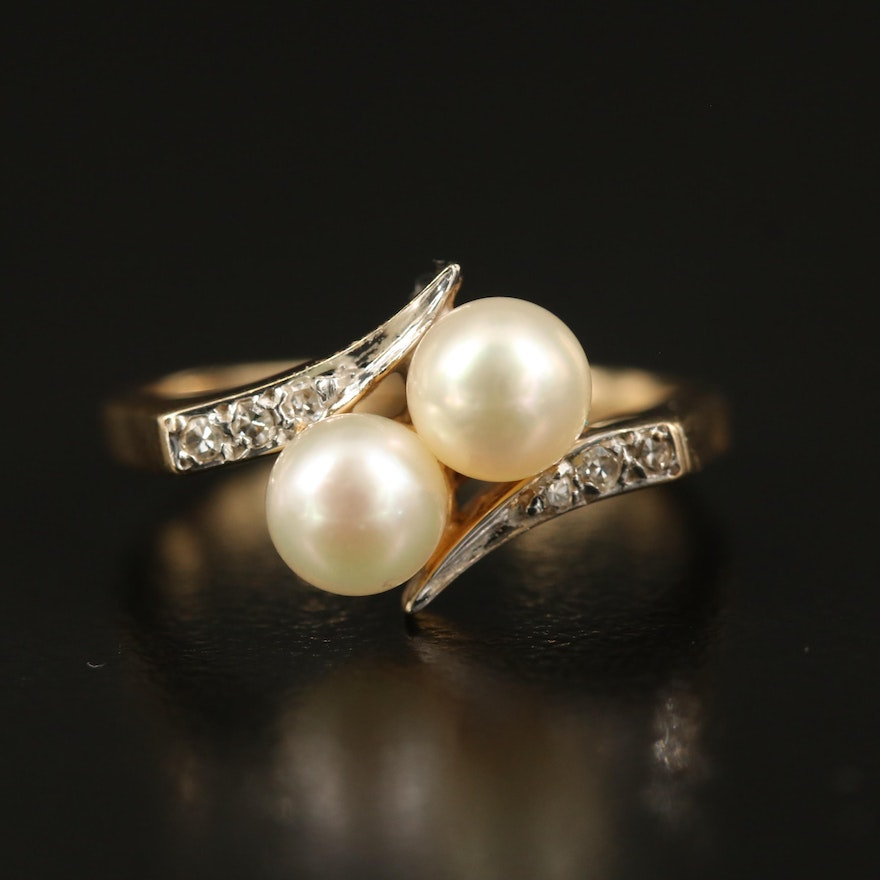 14K Pearl and Diamond Toi et Moi Bypass Ring
