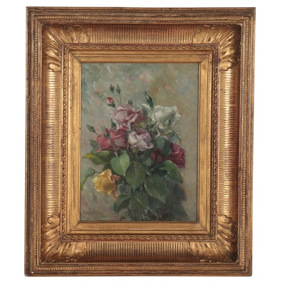 Floral Still Life Oil Painting in Late 19th Century Frame, Mid-20th Century