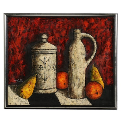 Still Life with Jars and Fruit Acrylic Painting, Late 20th to 21st Century