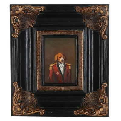 Oil Painting Portrait of Irish Red and White Setter, Late 20th Century