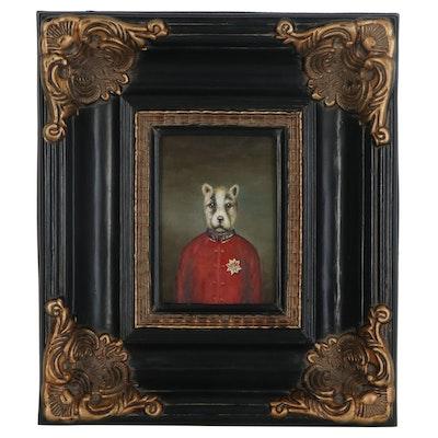 Anthropomorphic Canine Oil Portrait, Late 20th Century