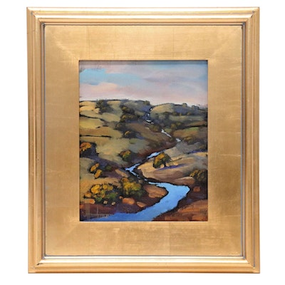 William Hawkins Landscape Oil Painting of River Scene