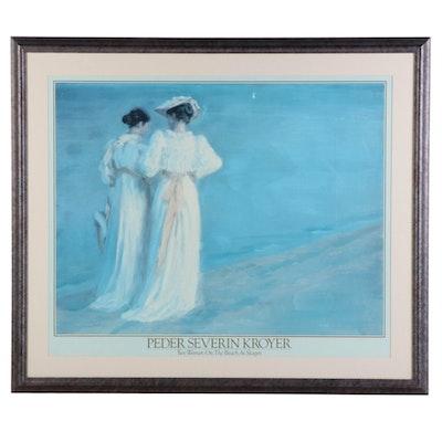 "Offset Lithograph Reproduction after Peder Severin Krøyer ""The Beach at Skagen"""