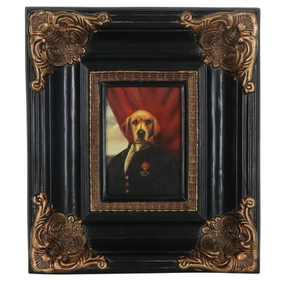 Oil Painting Portrait of Anthropomorphic Golden Retriever, Late 20th Century
