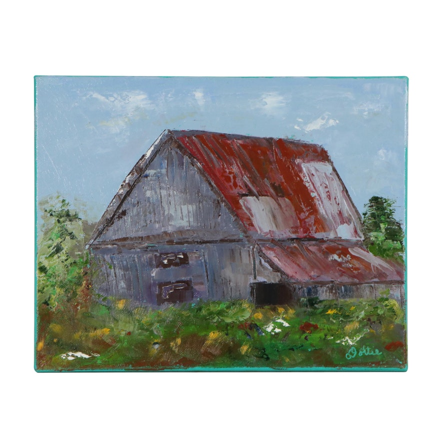 Dottie Abramowski Oil Painting of a Barn, 2020
