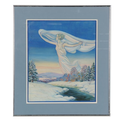 Acrylic Painting Illustration of Winter Goddess, Mid-20th Century
