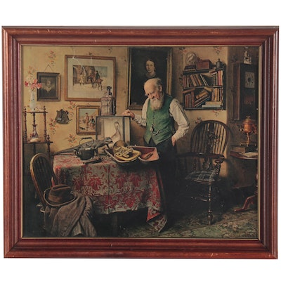Offset Lithograph after Charles Spencelayh of Man with French Horn