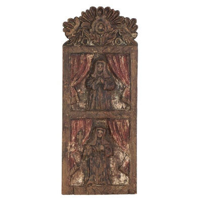 Religious Painted Wooden Wall Hanging, 19th Century
