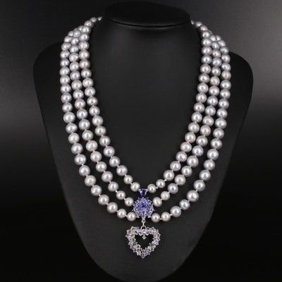Sterling Tanzanite and Sapphire Heart Pendant on Pearl Triple Strand Necklace