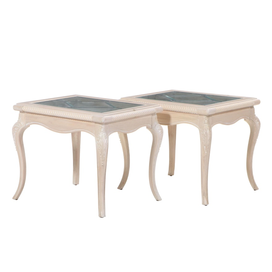 Pair of Light Wash Pine Framed End Tables with Leaded Glass Insert, 21st Century