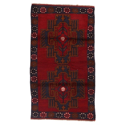 2'8 x 4'10 Hand-Knotted Afghan Baluch Accent Rug, 2000s