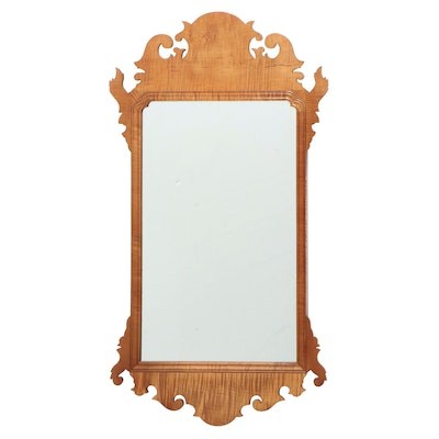 "Chippendale Style Tiger Maple Mirror, Stamped ""E. LIBERTI"", 20th Century"